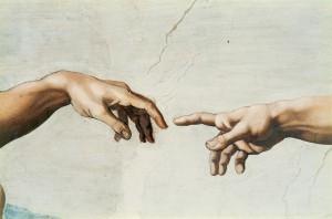 Michelangelo_Creation_finger_detail-300x198